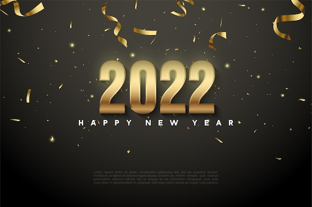 Happy new year 2022 background with falling gold ribbon