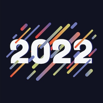 Happy new year 2022 background with numbers on colourful line shapes background