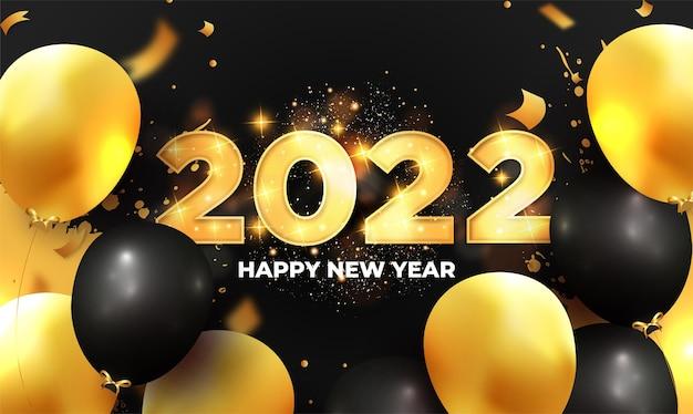 Felice anno nuovo sfondo 2022 con palloncini dorati realistici