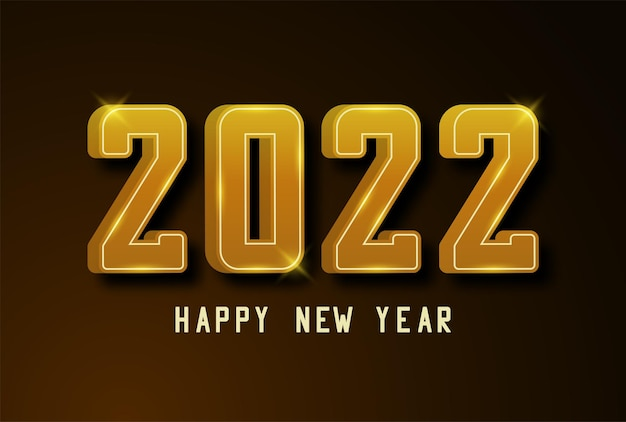 明けましておめでとうございます2022バナー影付きのゴールデンテキスト新年とクリスマスのゴールド番号2022
