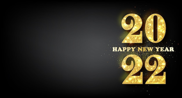 Happy new year 2022 banner. golden vector luxury text 2022 happy new year. gold festive numbers design. happy new year banner with 2022 numbers.