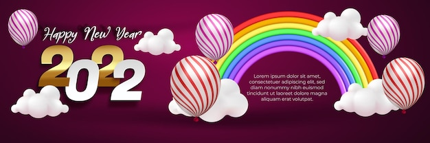 Happy new year 2022 banner template editable text effect with balloon and cute rainbow cartoon style