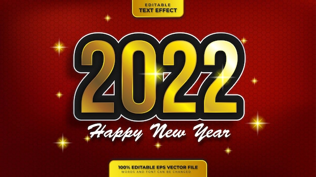 Happy new year 2022 black gold 3d editable text effect