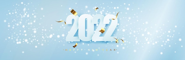 2022년 새해 복 많이 받으세요. 블루 크리스마스 타이포그래피 디자인입니다. 떨어지는 눈과 겨울 시즌 배경입니다. 크리스마스와 새 해 포스터 템플릿입니다. 휴일 인사말.