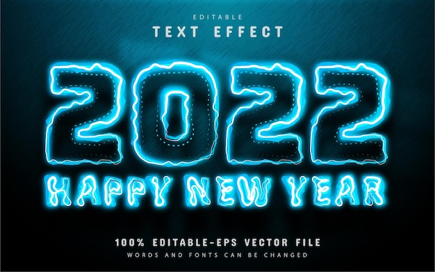 Happy new year 2022 blue neon text effect editable