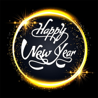 Happy new year 2022 bokeh black and gold background celebration