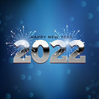 Happy new year 2022 bokeh silver and white background celebration