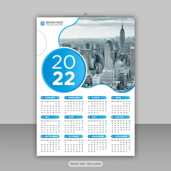 Happy new year 2022 business wall calendar design template