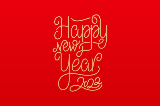 Happy new year 2022 calligraphy text. vector illustration for new year celebration.