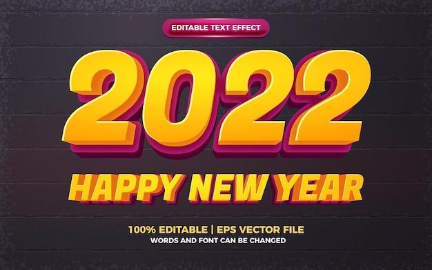 새해 복 많이 받으세요 2022 만화 굵은 3d 편집 가능한 텍스트 효과