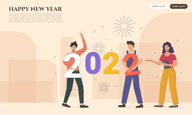 Happy new year 2022 characters connect new year numbers together