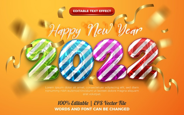Happy new year 2022 colorful cartoon kids 3d editable text effect