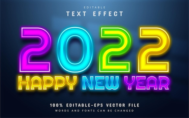 Happy new year 2022 colorful neon text effect editable