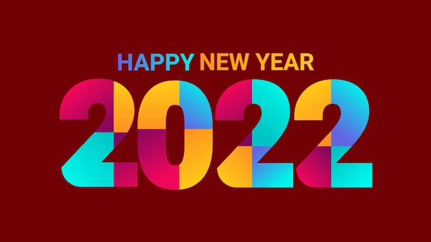 明けましておめでとうございます2022カラフルなテキスト。 2022番号ベクトルの挨拶、招待状、バナーまたは背景に適したデザインイラスト。
