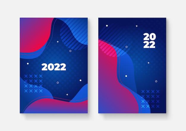 새해 복 많이 받으세요 2022 표지 디자인 패턴, 벡터 일러스트 레이 션. 2022년 연례 보고서, 미래, 비즈니스, 템플릿 레이아웃 디자인, 표지. 벡터 일러스트 레이 션, 프레 젠 테이 션 추상 평면 배경