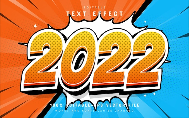 Happy new year 2022 editable comic text effect
