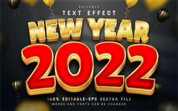 Happy new year 2022 editable golden 3d text effect