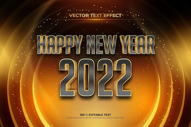 Happy new year 2022 editable text effect with black gold backround style