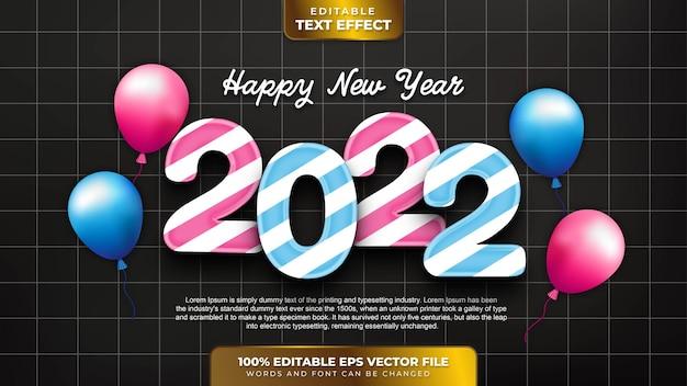 С новым годом 2022 редактируемый текстовый эффект в конфетном стиле