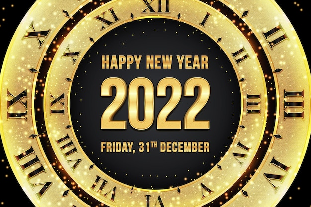 Happy new year 2022 editable text effect with clock  black gold backround style