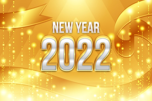 Happy new year 2022 editable text effect with gold particles decoration backround