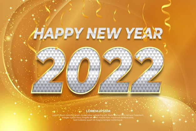 Happy new year 2022 editable text effect with white gold backround style