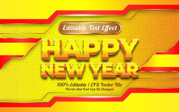 새해 복 많이 받으세요 2022 편집 가능한 텍스트 효과 노란색과 황금색 테마