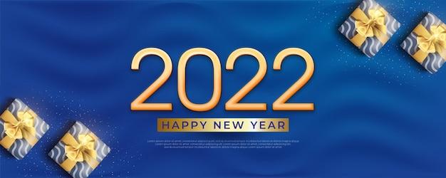 С новым годом 2022 редактируемый текст номер 3d баннер на синем фоне