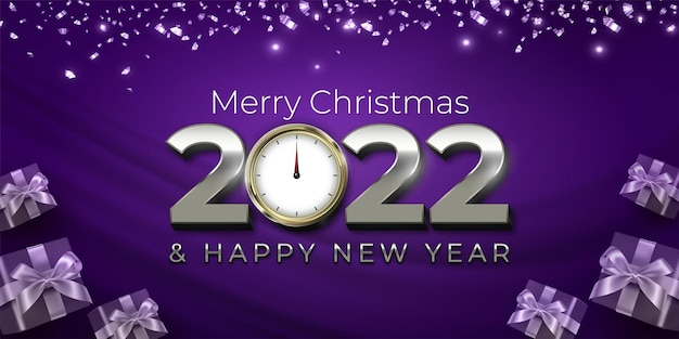 Happy new year 2022 editable text number with element decoration