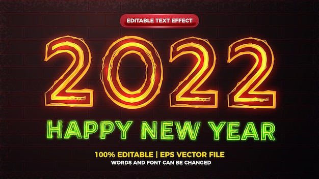 Happy new year 2022 electric glow bold editable text effect