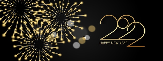 明けましておめでとうございます2022エレガントな黄金のテキストリアルな黄金の花火とビンガラライト