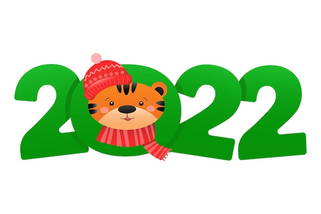 Happy new year 2022 festive design with cartoon funny tiger and number of 2022 year of the tiger