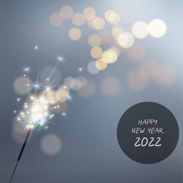Felice anno nuovo 2022 su sfondo di fuochi d'artificio