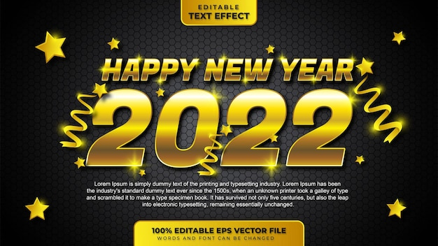 Happy new year 2022 gold 3d editable text effect