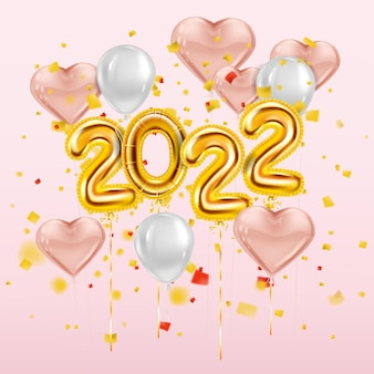 Happy new year 2022 gold balloons golden foil numerals pink hearts balloons with confetti
