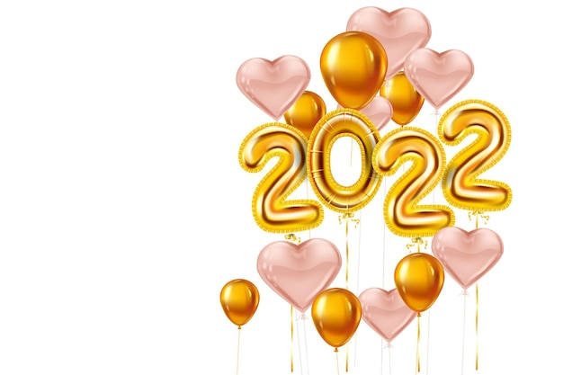 Happy new year 2022 gold balloons stage podium golden foil numerals pink hearts balloons