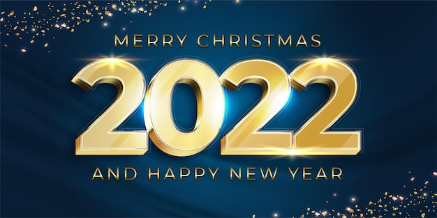 Happy new year 2022 gold design of numbers on dark elegant background