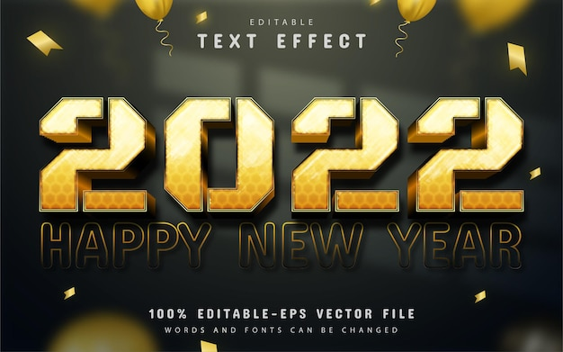 Happy new year 2022 gold editable text effect