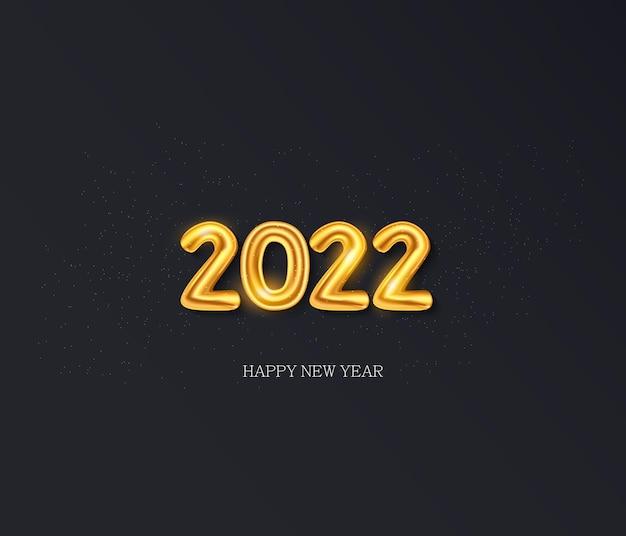 明けましておめでとうございます2022年金箔風船を背景にベクトル
