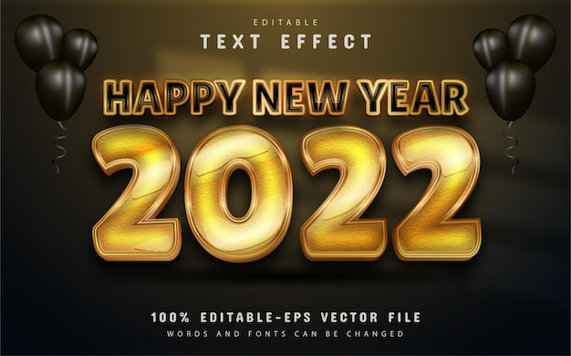 Happy new year 2022 gold modern 3d editable text effect
