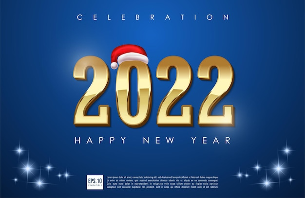 Happy new year 2022 gold number with hat santa illustration