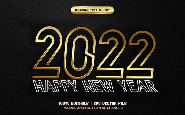 Happy new year 2022 gold paper cut 3d editable text effect