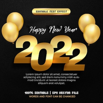 Happy new year 2022 gold plate balloon with editable text effect