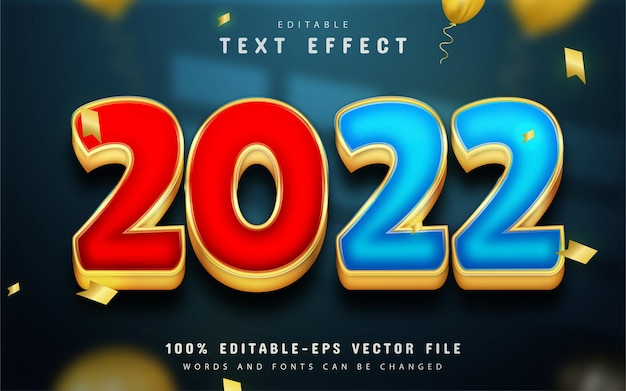 Happy new year 2022 gold red and blue 3d text effect