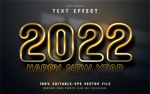Happy new year 2022 gold shiny 3d editable text effect