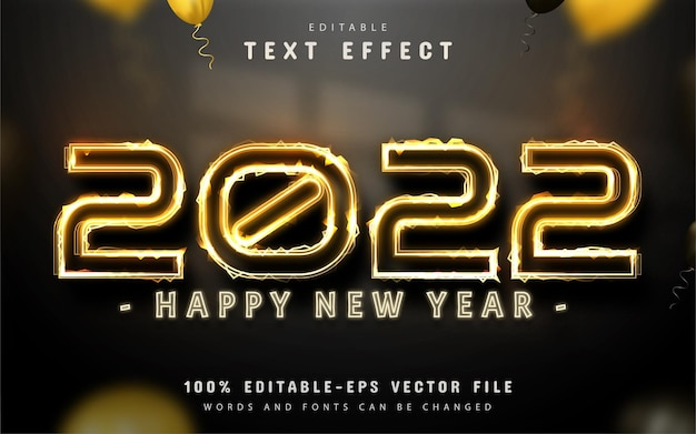 Happy new year 2022 gold text effect editable