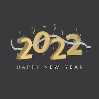 あけましておめでとう。 2022年。焦点がぼけたカラフルなボケ味の背景にリボンと紙吹雪が付いた金色の3d数字。