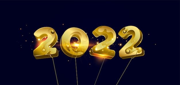 새해 복 많이 받으세요 2022 리본이 있는 황금 3d 숫자