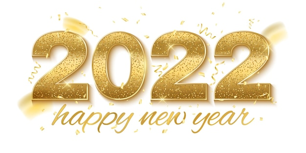 Happy new year 2022. golden glittering numbers with serpentine and confetti decorations isolated