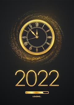Happy new year 2022. golden metallic numbers 2022, gold watch with roman numeral and countdown midnight with loading bar on shimmering background. bursting backdrop with glitters. vector illustration.